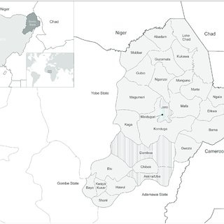 Map of Borno State showing the 27 Local Government Areas