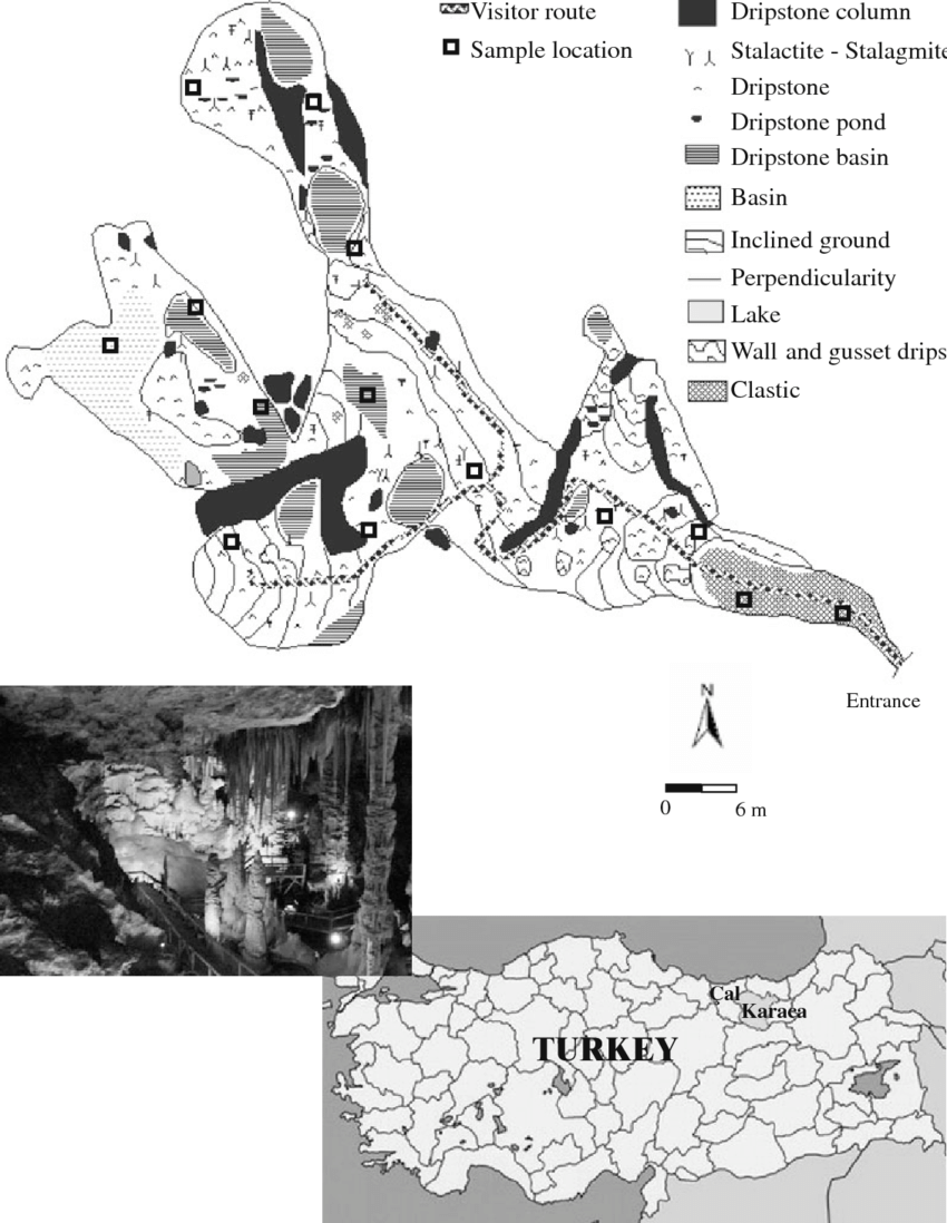 hight resolution of geological map of karaca cave and sampling sites