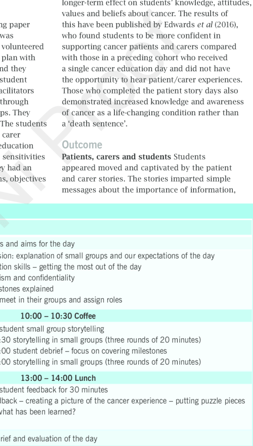 small resolution of timetable and teaching plan patient and carer stories