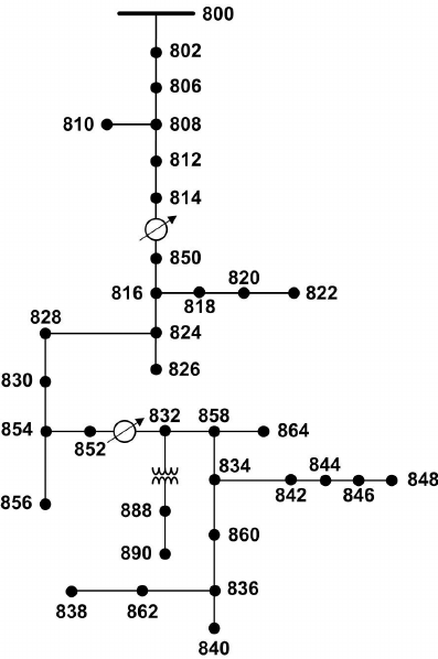 Schematic diagram of the IEEE 34-bus test distribution