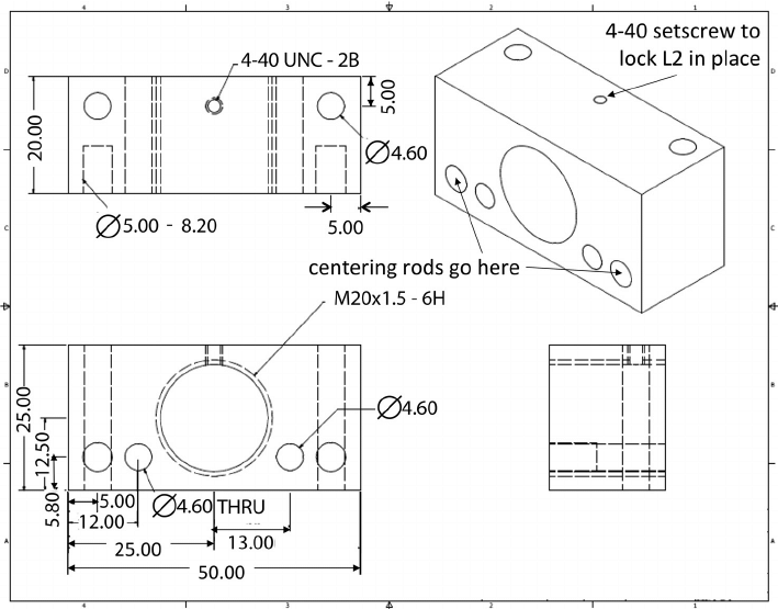 Machine drawings (dimensions in mm) for the copper block
