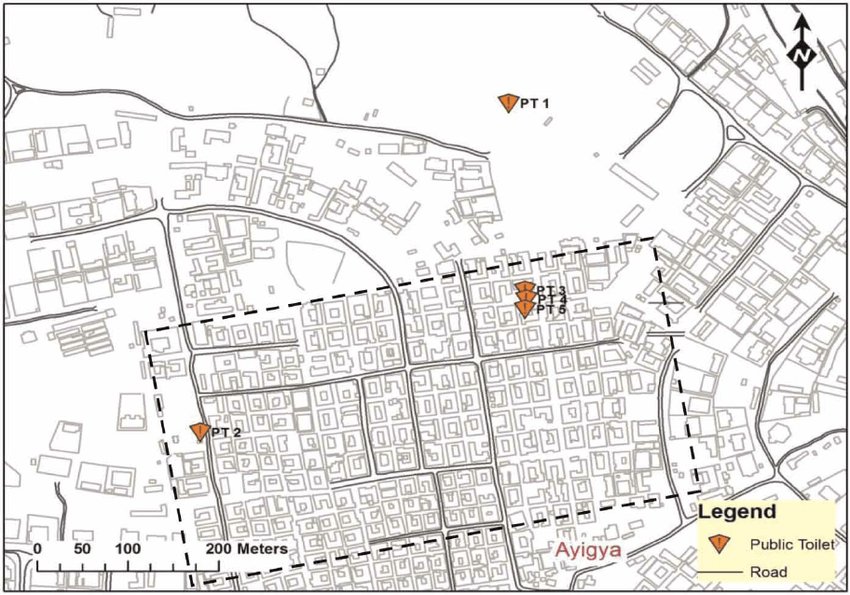 | Spatial map of Ayigya Zongo showing area considered for