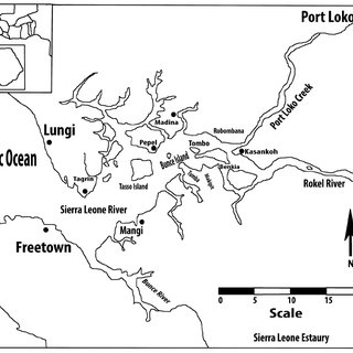 Map of Sierra Leone Estuary with some of the identified