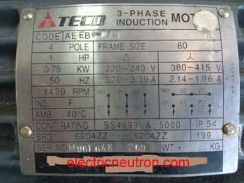 Three phase induction motor nameplate As seen in delta