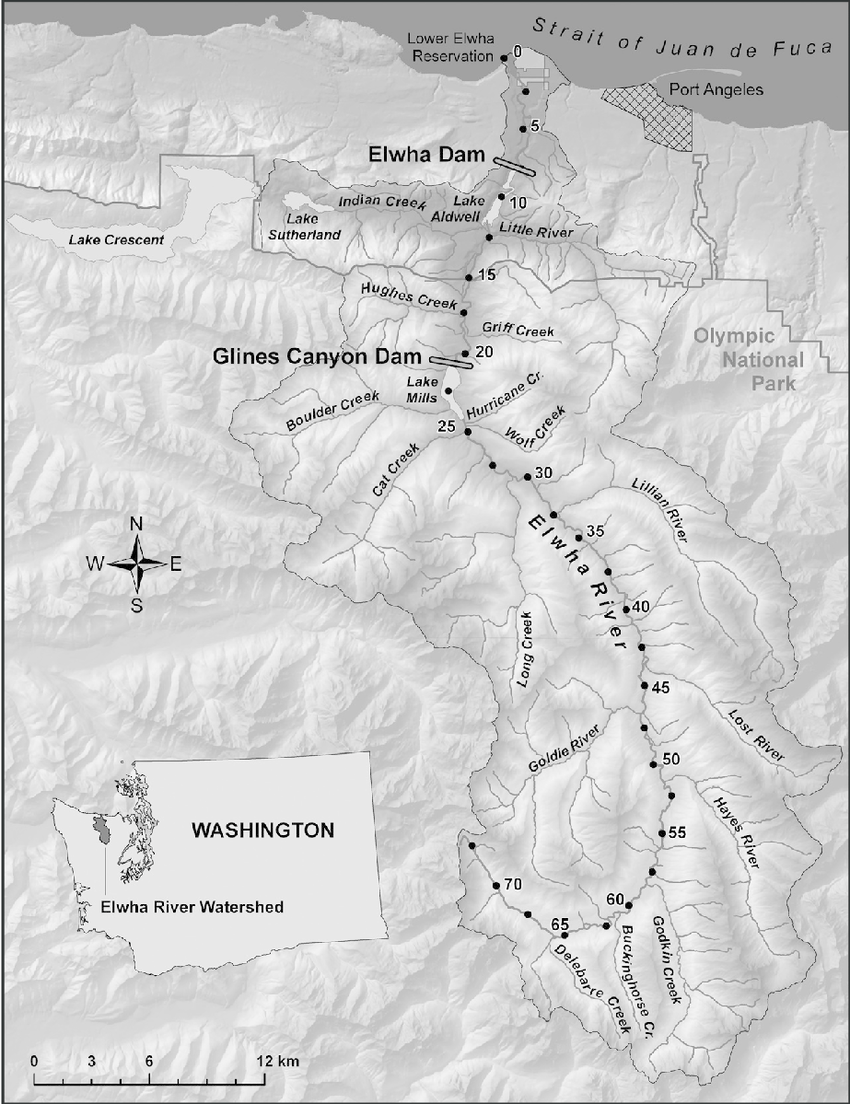 hight resolution of study area and location of hydroelectric dams in elwha river basin distance upstream from the