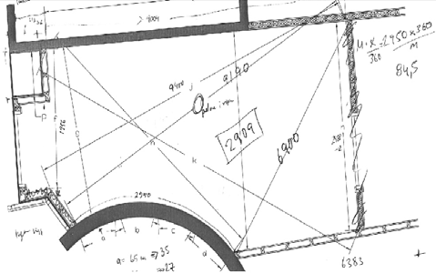 A simplified drawing that the surveyor used at the