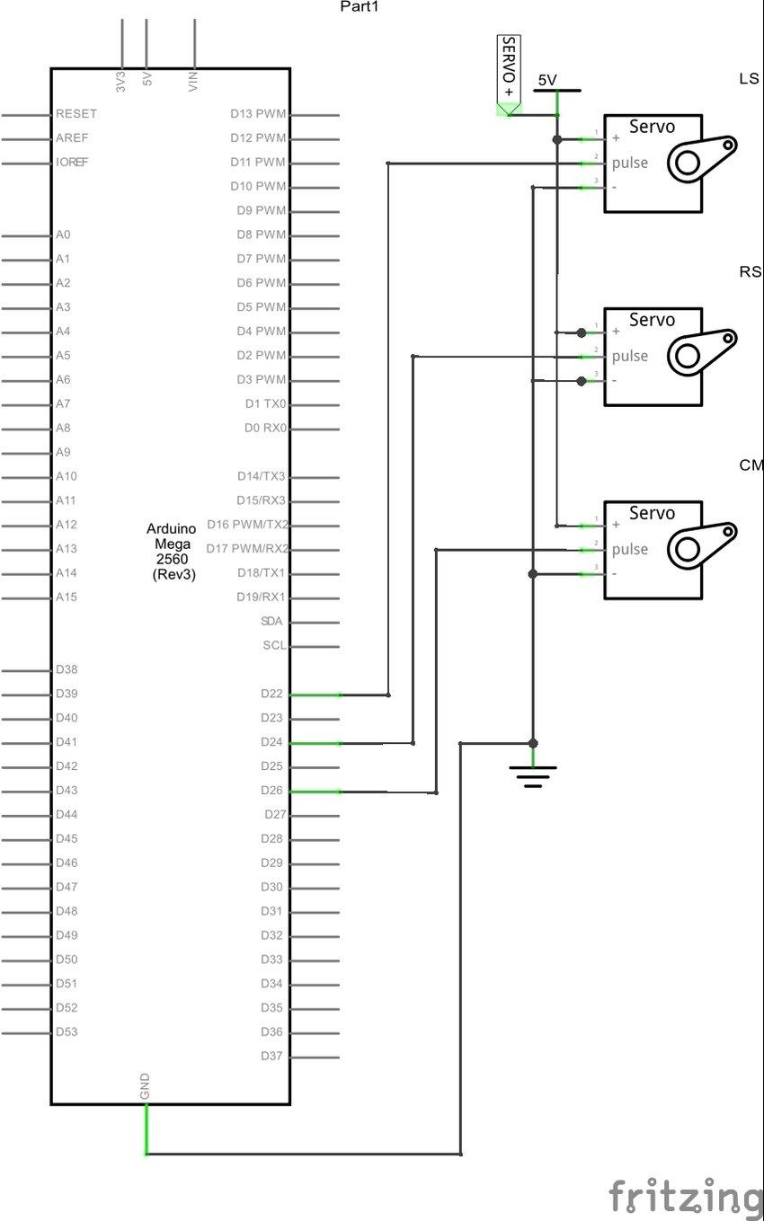 Schematic diagram of Mini servo motor with Arduino mega in