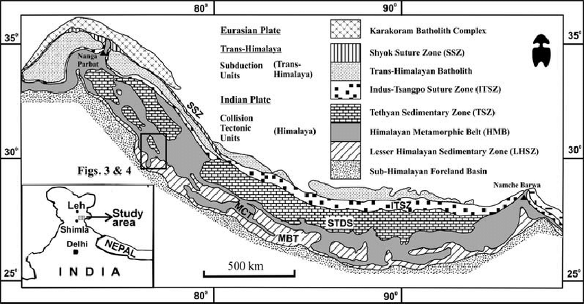 Simplified regional geological map of the Himalaya in