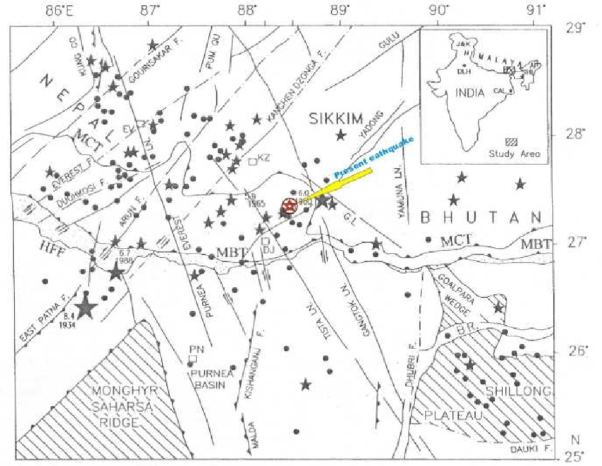 Map showing earthquake epicenters (M = 4.0; 1964 to 2002