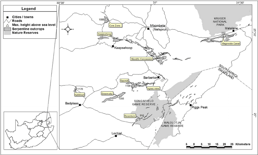 Map indicating serpentine outcrops of the Barberton