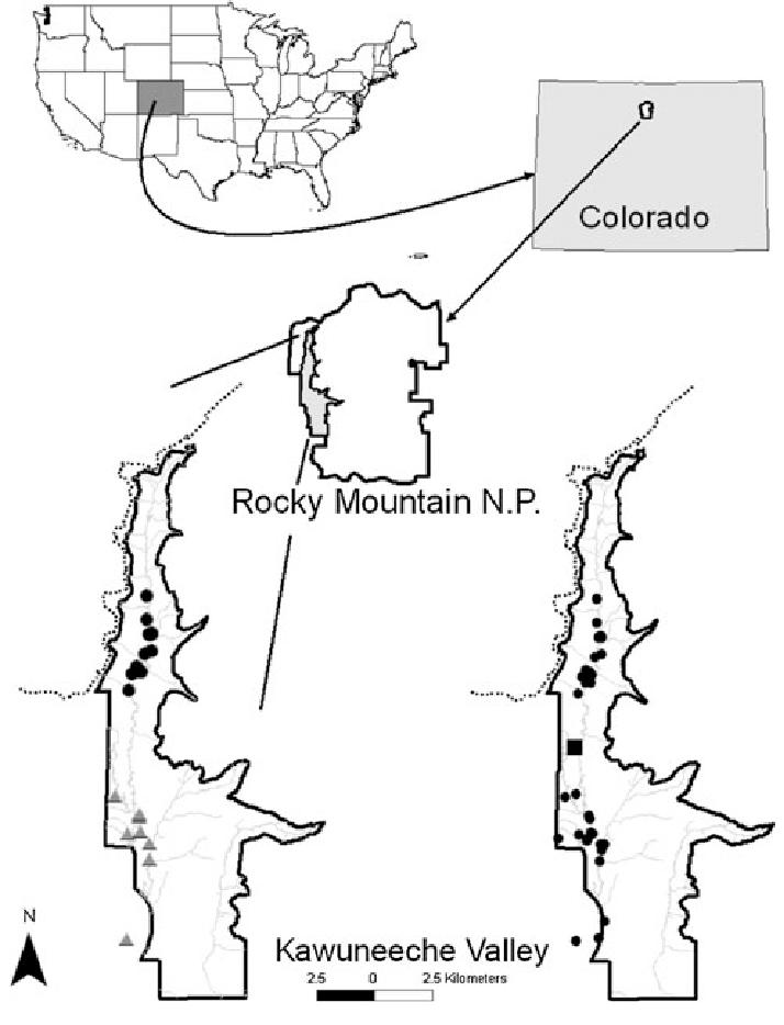 Map of the Kawuneeche Valley (KV) in Rocky Mountain