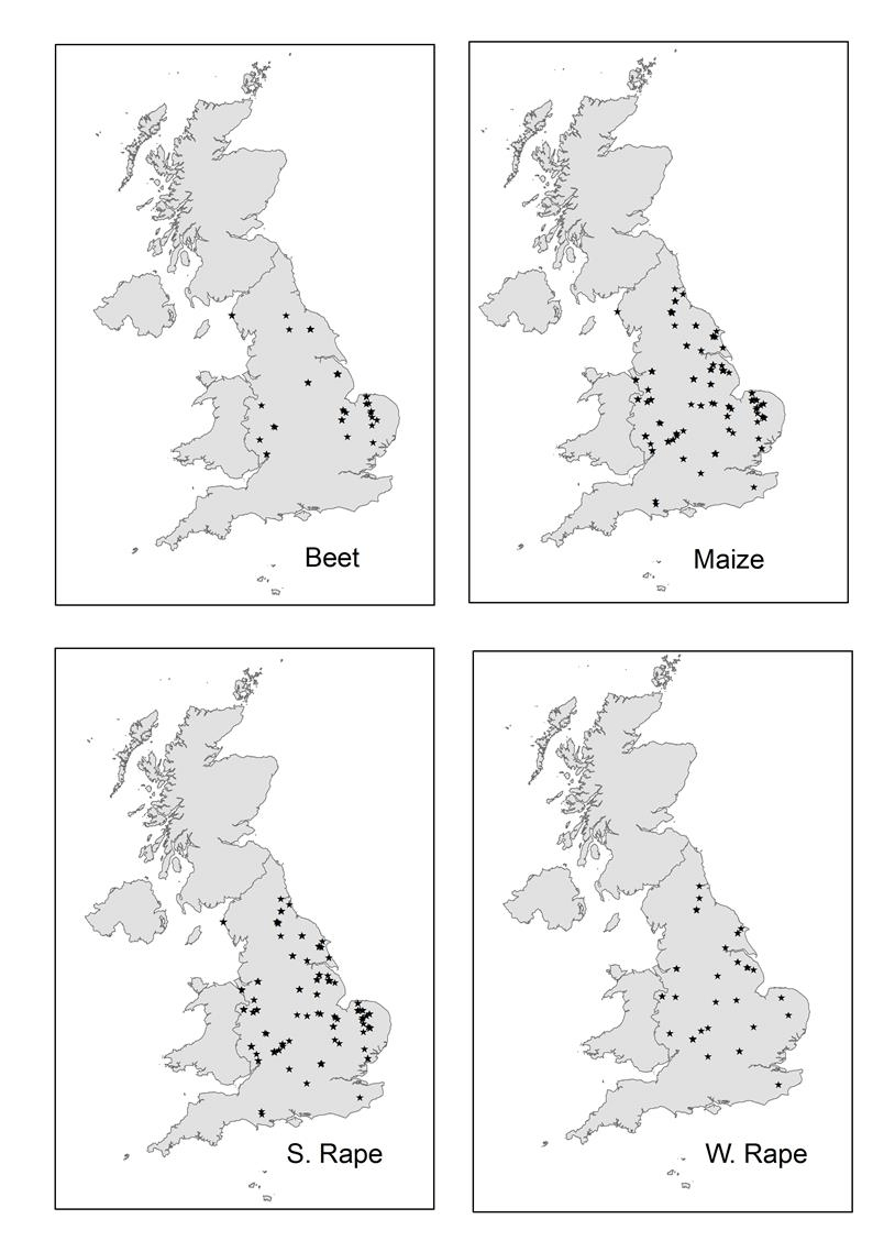 hight resolution of 1 map of sampling sites in england source farm scale evaluation database