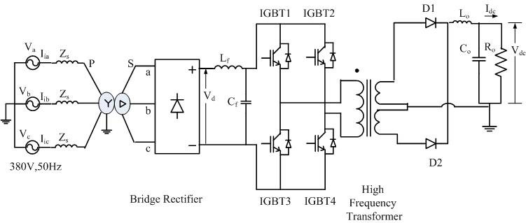 Schematic diagram for a 6-pulse ac-dc converter