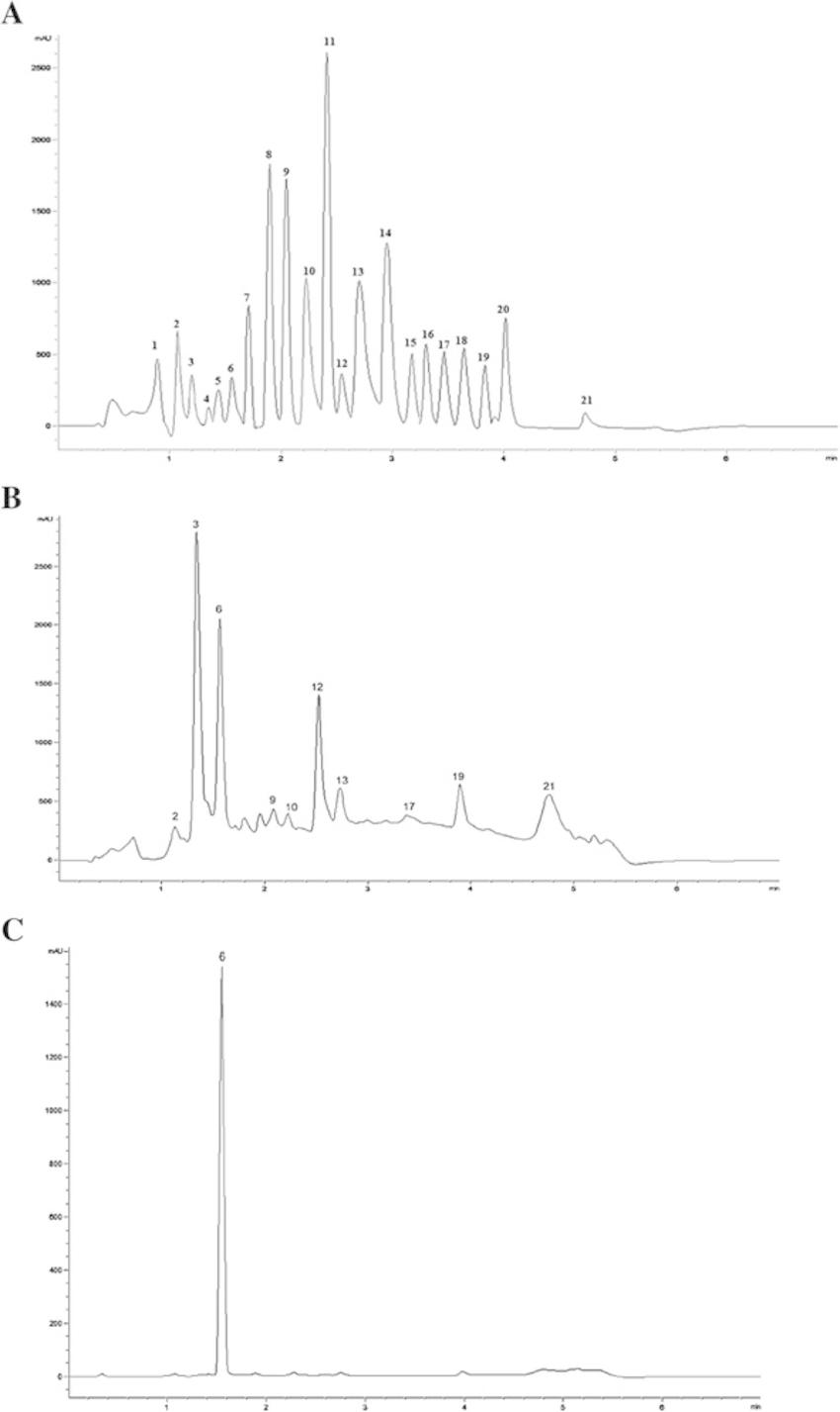 Chromatograms of polyphenolic standards (a), methanol seed