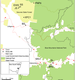 locations of the swamp sites surveyed in the blue mountains and newnes plateau areas of south [ 850 x 937 Pixel ]