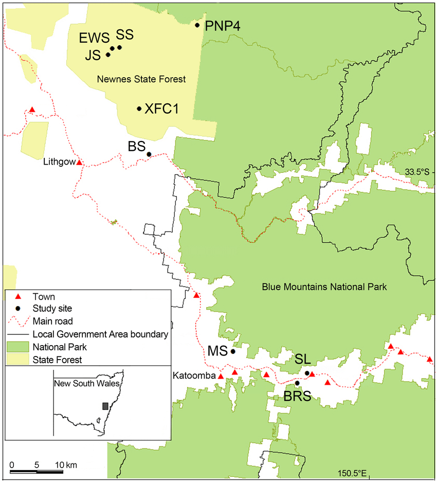 hight resolution of locations of the swamp sites surveyed in the blue mountains and newnes plateau areas of south