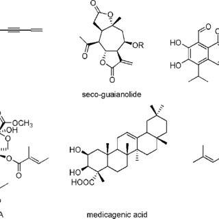 Chemical structures of bioactive compounds from plant