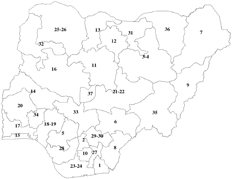 . Map of Nigeria by states. 1, Akwa Ibom. 2, Anambra. 3