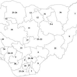 Map of Nigeria by states. 1, Akwa Ibom. 2, Anambra. 3