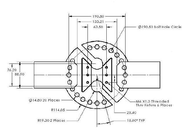 Mechanical drawing of the ARCAN fixture used by CAStLE for