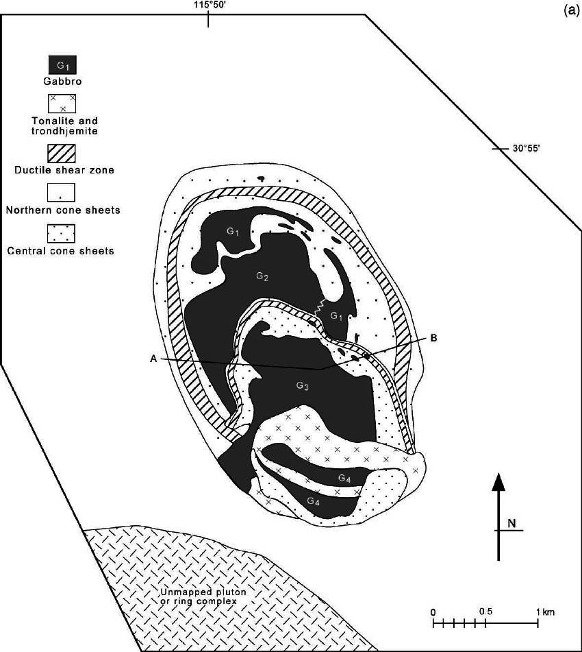 (a) Geological map of the Zarza Intrusive Complex. Units