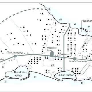 Topography of Medieval Constantinople, with the city walls