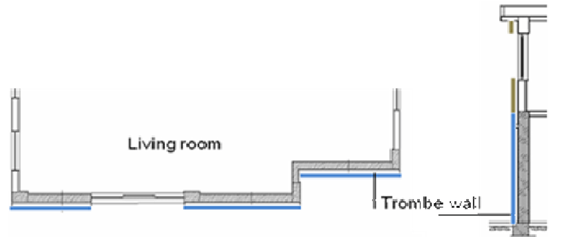 The schematic view of Trombe wall in plan and section.