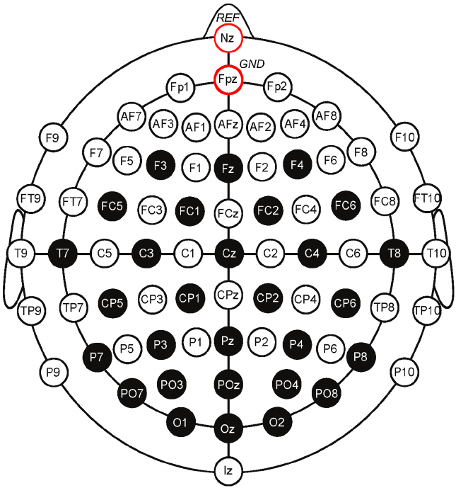 The selected electrode locations of the International 10