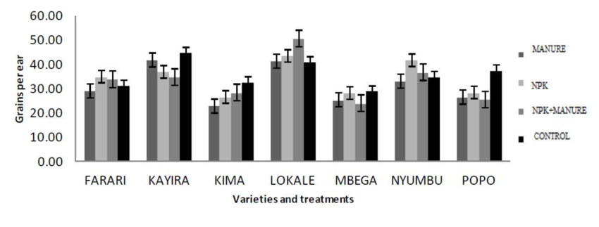 Effects of varieties and treatments on number of grains