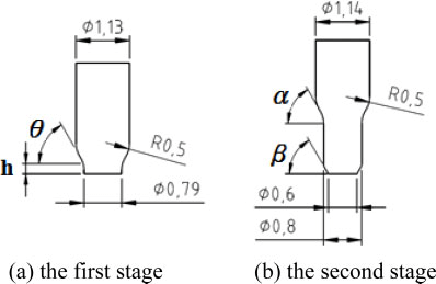 Key dimensions in preform shape and final product