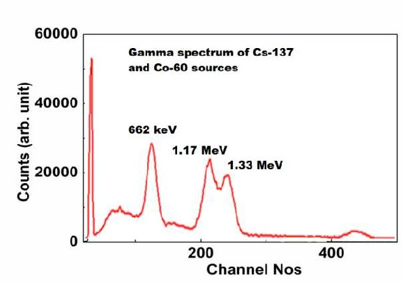 Pulse height spectra from sources measured using the BGO