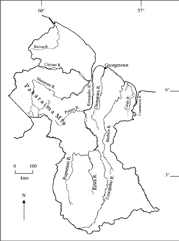 Locations of major rivers tested for relationship to