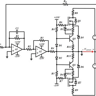 Schematic of the high-voltage correction amplifier