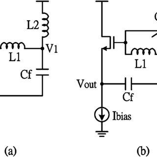 Three-terminal MOSFET Hartley oscillator circuits: (a