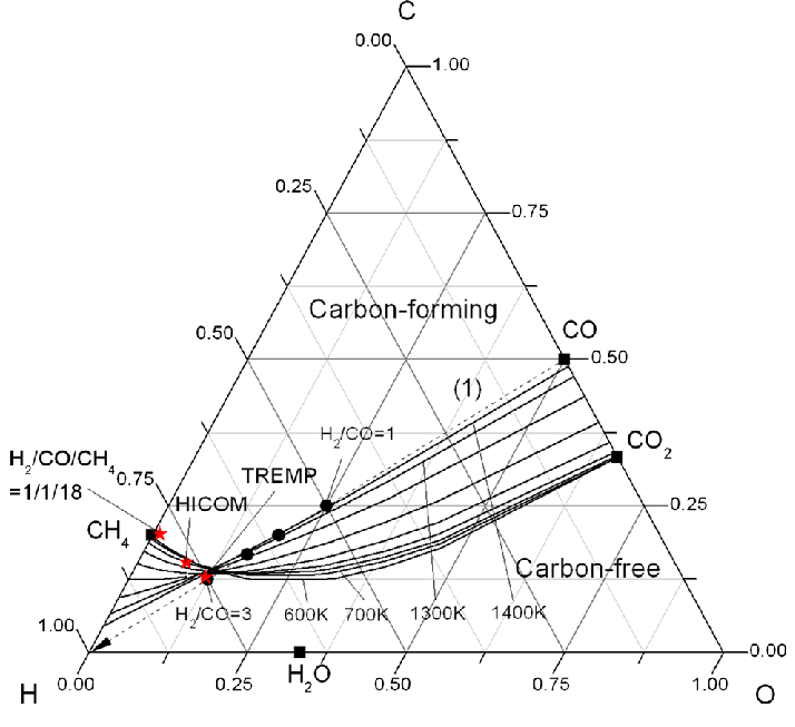 Ternary diagram for CHO system under 30 bar total pressure