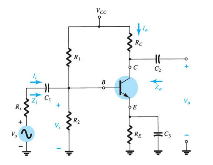1 Common emitter self biased transistor amplifier circuit