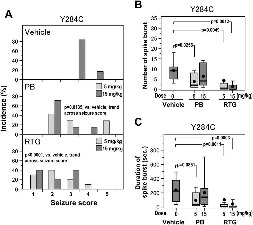 Effects of phenobarbital (PB) and retigabine (RTG) at low
