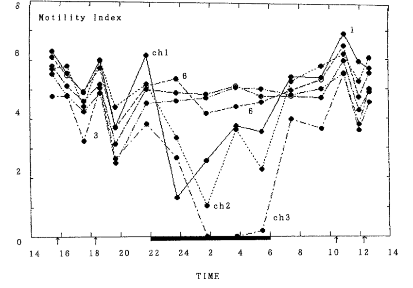 The 24-hr motility indices for the same subject as