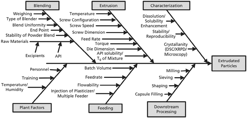 Ishikawa diagram for preparation of extruded particles [12