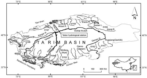 Sketch map showing the river system and glacier