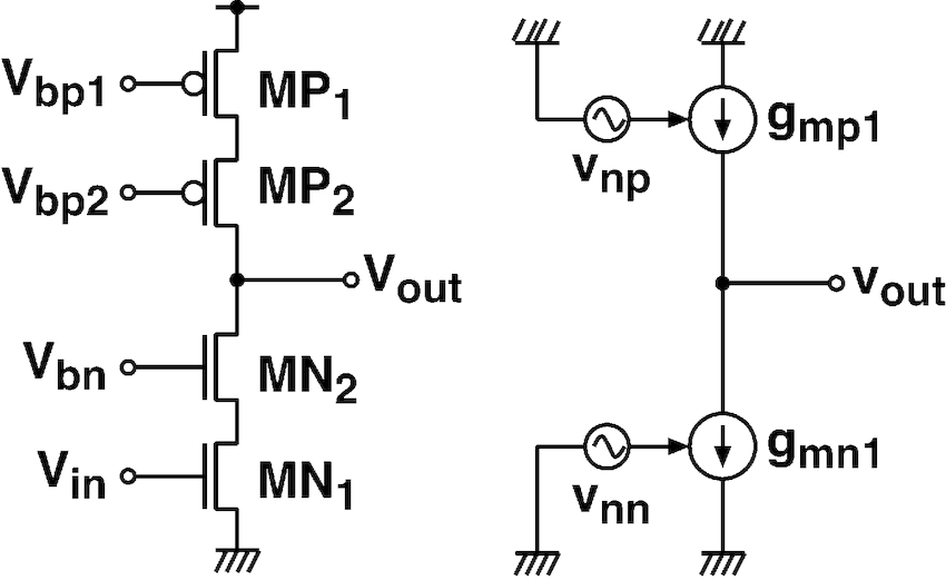Cascode common-source amplifier and equivalent circuit for