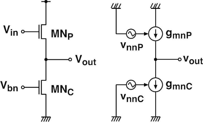 Source follower and equivalent circuit for noise analysis