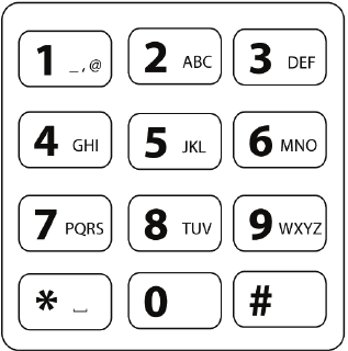The standard 12-key telephone keypad, character layout