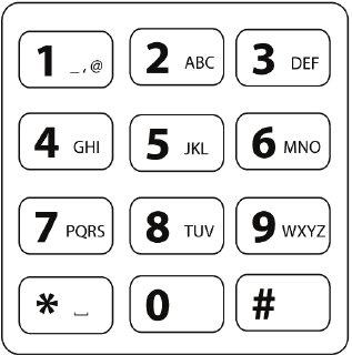 The standard 12-key telephone keypad, character layout