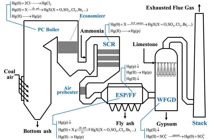 Figure 1. Mercury transformation and removal across APCDs