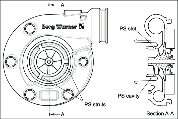 Mechanical drawing of the selected PS compressor, showing