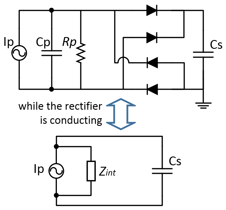 Equivalent circuit while the full-bridge rectifier is