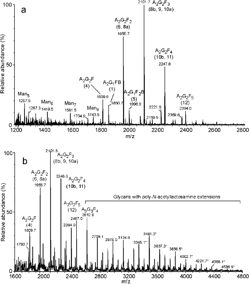 hight resolution of positive ion reflectron maldi tof mass spectra of a glycans from fraction p9