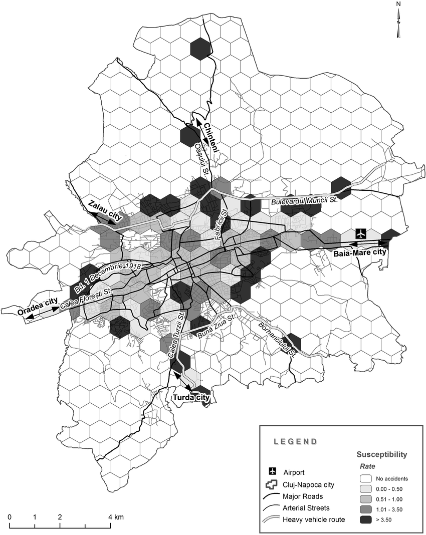 hight resolution of the map of areas susceptible to traffic accidents under low light conditions in cluj