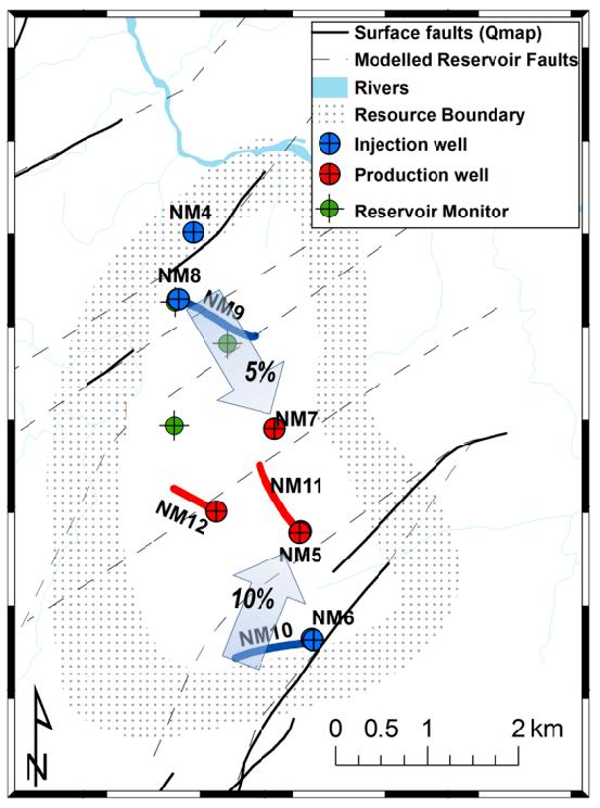 Ngatamariki Geothermal Field layout. Blue shaded arrows